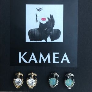 Kameakay gold and silver owl earrings